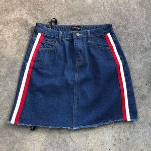 NWT Pretty Little Thing Sports Stripe Denim Skirt